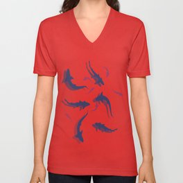 Sharks with shadows Unisex V-Neck