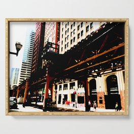 Chicago 'L' art print - Chicago L, Chicago EL - industrial urban photo - downtown Chicago CTA Serving Tray