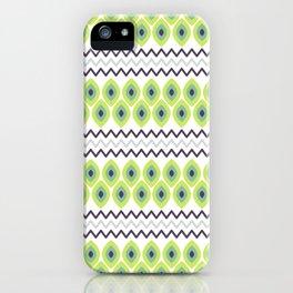 Abstract avocado green black geometric zigzag stripes pattern iPhone Case
