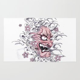 Japanese Devil Mask hannya japanese ghost Rug