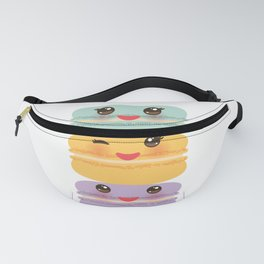 Kawaii macaroon funny orange blue lilac cookie with pink cheeks with pink cheeks and big eyes Fanny Pack