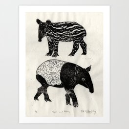 Malayan Tapir & Baby Art Print