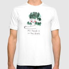 My head is in the forests MEDIUM White Mens Fitted Tee