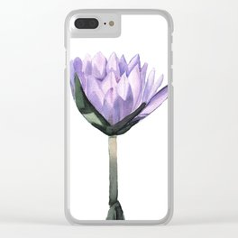 Purple Water Lily in Watercolor Clear iPhone Case