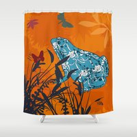 frog Shower Curtains featuring Frog by Agustina Echarry