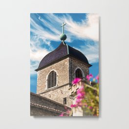 Old medieval style stone church of Perouges in France Metal Print