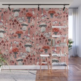 Fungi Farmer Land (Mushroom Land) - RED Wall Mural