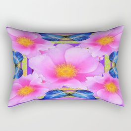 Blue Silken Butterflies Pink Camellias Patterned Abstract Rectangular Pillow