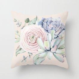 Pretty Pink Succulents Garden Throw Pillow