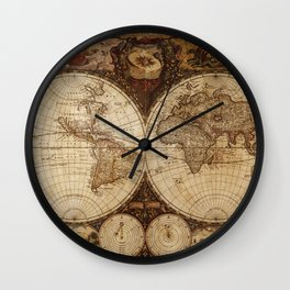 Vintage Map of the World Wall Clock