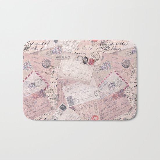 Nostalgic Letters Collage Soft Pink Bath Mat