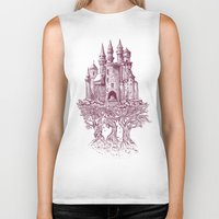 trees Biker Tanks featuring Castle in the Trees by Rachel Caldwell