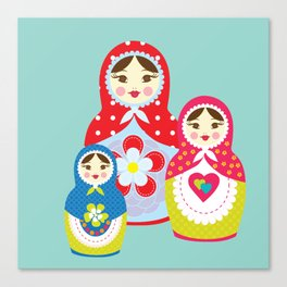 Turquoise babushka , matryoshka , russian doll , nursery decor , children gift, birthday gift Canvas Print
