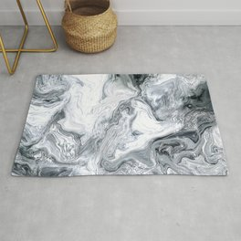 Exquisite Black, White, and Gray Exotic Swirl Marble Rug