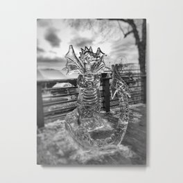 Ice Dragon Sculpture at Icestravaganza, 2017 Metal Print