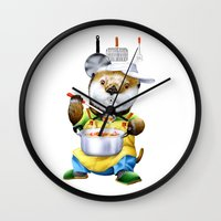 cooking Wall Clocks featuring A sea otter cooking by FACTORIE