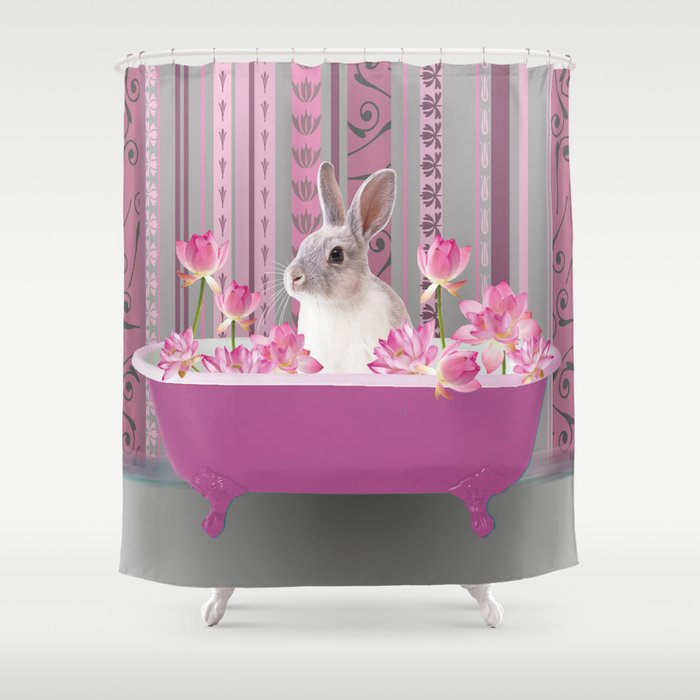 Bunny sitting in bathtub with lotus flowers #society6 Shower Curtain