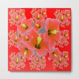 RED MODERN ART CORAL PINK HIBISCUS GARDEN ART Metal Print
