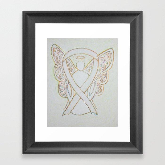 White Awareness Ribbon Angel Art Painting Framed Art Print