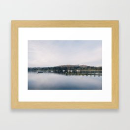 Boats on Lake Windermere at Waterhead. Cumbria, UK. Framed Art Print