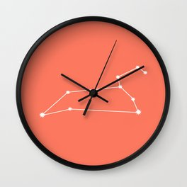 Leo Zodiac Constellation - Coral Red Wall Clock