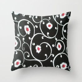 BLACK DAISY SWIRLS ON BLACK BACKGROUND COPY Throw Pillow