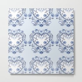 Blue floral heart Metal Print