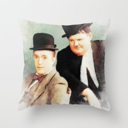 Laurel and Hardy, Movie Legends Throw Pillow
