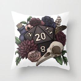 Necromancer D20 Tabletop RPG Gaming Dice Throw Pillow