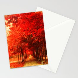 Tree Alley Autumn painted Stationery Cards