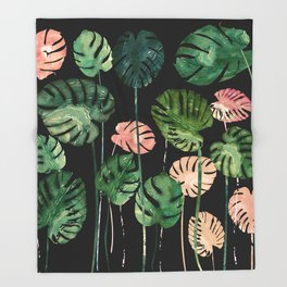 Tropical Leaves at Night Throw Blanket