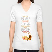 winnie the pooh V-neck T-shirts featuring stronger, braver, smarter, winnie the pooh by studiomarshallarts