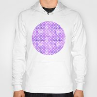 polka dots Hoodies featuring Purple Polka Dots 01 by Aloke Design