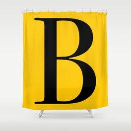 Serif B. Black on Yellow. Shower Curtain