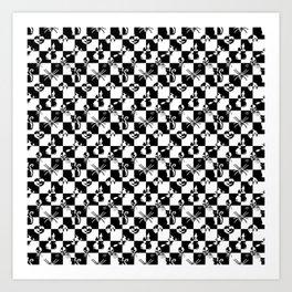 Black and White Vintage Halloween Disco Check Art Print