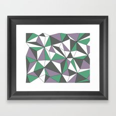 Geo - purple, green, gray and white. Framed Art Print