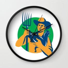 Organic Farmer Pitchfork Chicken Retro Wall Clock