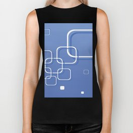 WHITE SQUARES ON A BLUE BACKGROUND Abstract Art Biker Tank
