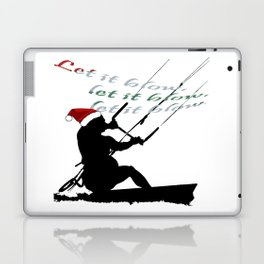 Let It Blow Christmas Holiday Kitesurfing Activity Laptop & iPad Skin