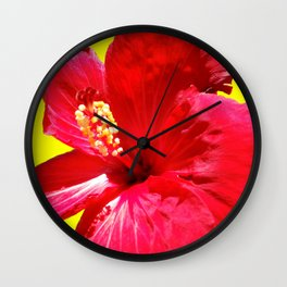 red on the yellow Wall Clock