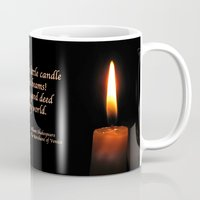 shakespeare Mugs featuring Shakespeare Candle Flame by Bebop's Place