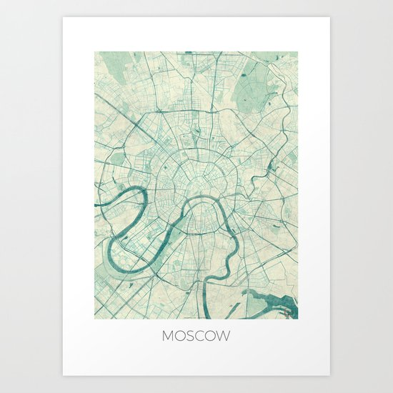 Moscow Map Blue Vintage Art Print