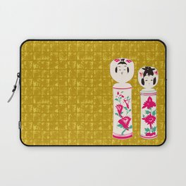 Japanese Kokeshi on Gold-leaf Screen Laptop Sleeve