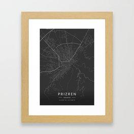 Prizren, Kosovo - Dark Map Framed Art Print