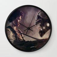 aliens Wall Clocks featuring Aliens by Jehzbell Black