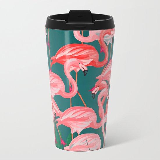 flamingo tropical Metal Travel Mug