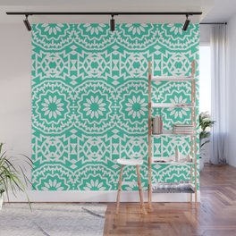 Vintage style bohemian with abstract tribal flowers Wall Mural