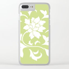 Oriental Flower - Daiquiri Green Circular Pattern Clear iPhone Case