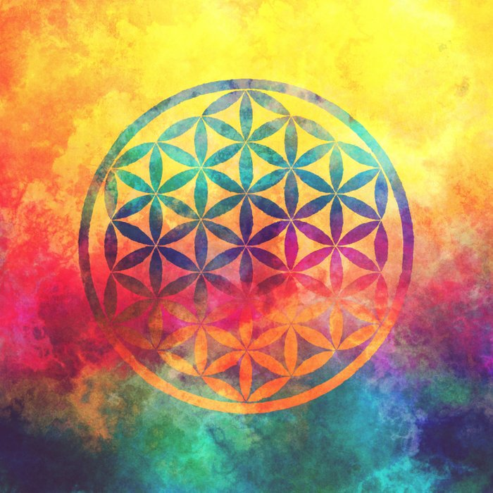 Rainbow Flower Of Life Comforters