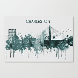 Blue Charleston South Carolina skyline Canvas Print